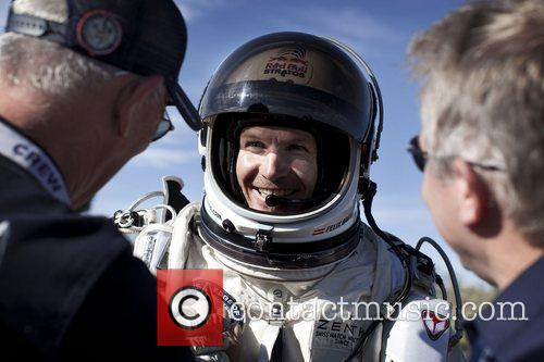Felix Baumgartner prepares for his record jump from...