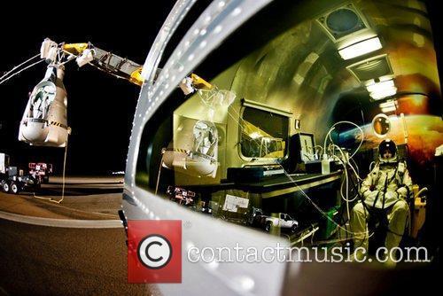 Pilot Felix Baumgartner of Austria  prepares for...