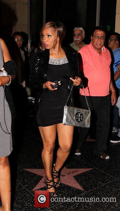 Jill Marie Jones Celebrities along Hollywood Boulevard in...