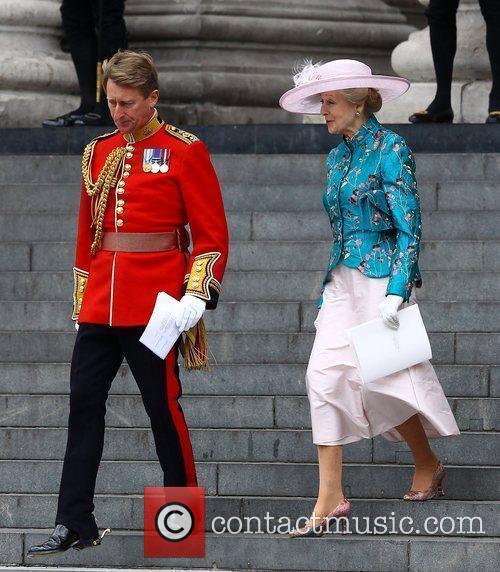 Princess Alexandra leaving the Queen's Diamond Jubilee thanksgiving...
