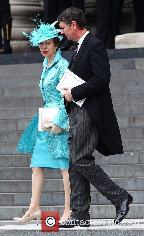 Princess Anne leaving the Queen's Diamond Jubilee thanksgiving...