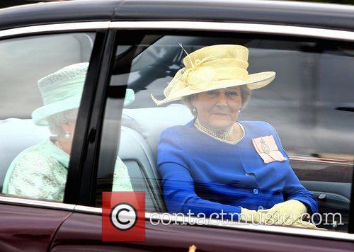 Diana Farnham in the car with Queen Elizabeth,...