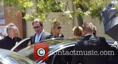 Leaving the funeral of Sage Stallone at St....