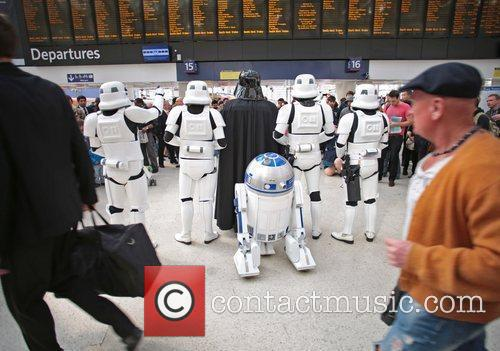 Darth Vader, Stormtroopers and R2-D2 joined morning commuters today in anticipation for the launch of the Kinect Star Wars game on Tuesday 3rd April, exclusively on Xbox 360 London, England