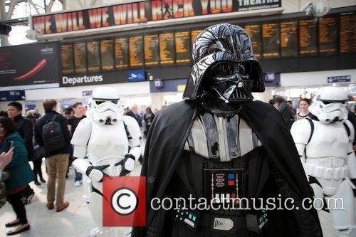 Darth Vader, Stormtroopers and R2-D2 joined morning commuters today in anticipation for the launch of the Kinect Star Wars game on Tuesday 3rd April, exclusively on Xbox 360 London