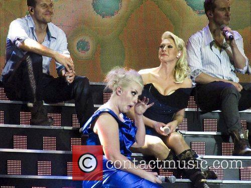 Emotional Claire Richards and Faye Tozer of Steps...