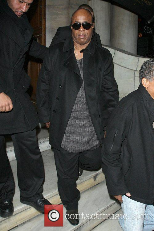 Stevie Wonder leaving Aura nightclub