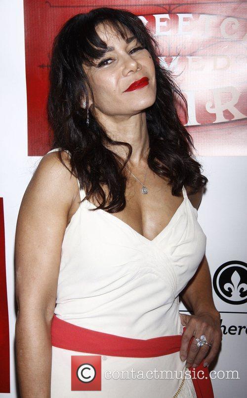 Daphne Rubin-Vega wearing vintage Broadway opening night afterparty...