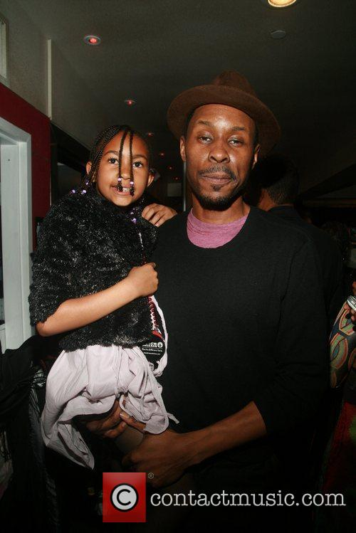 Wood Harris and daughter Broadway opening night afterparty...