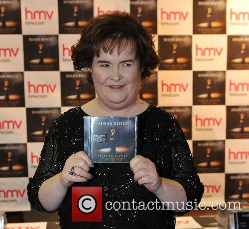 Susan Boyle promotes and signs copies of her new book 'Standing Ovation' at HMV Edinburgh, Scotland