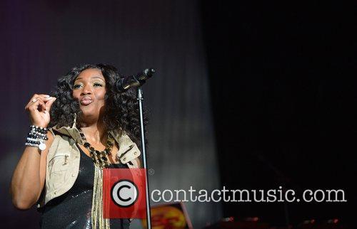 Tamara 'Taj' Johnson-George of SWV performs at Bank...