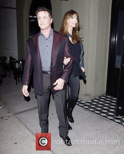 Sylvester Stallone and Jennifer Flavin leaving Craig's restaurant...