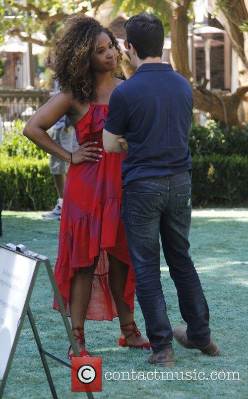 On the set of 'Extra' at The Grove