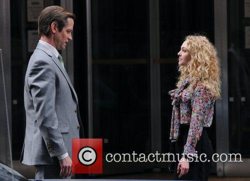 AnnaSophia Robb and Matt Letscher on the set...