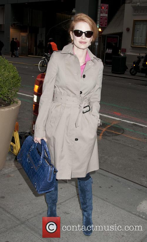 Jessica Chastain arrives at The Walter Kerr Theater...