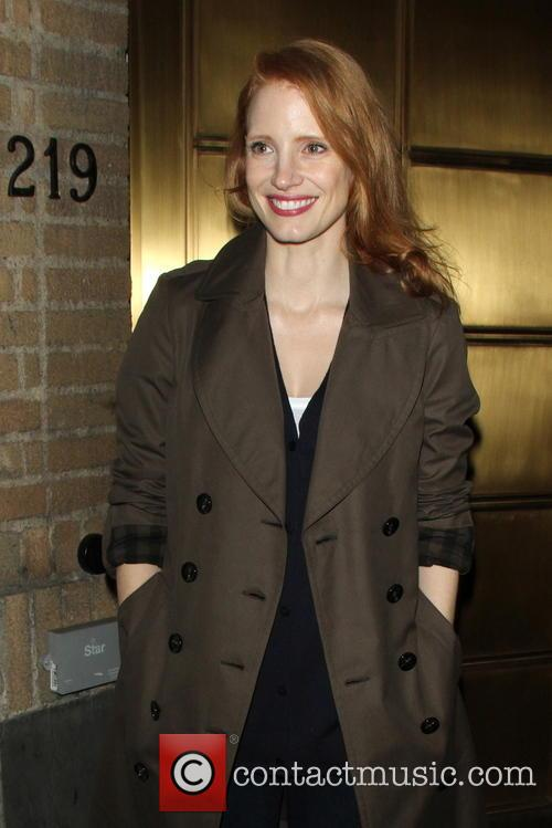 Jessica Chastain Actors outside The Walter Kerr Theatre...