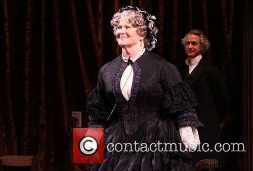 On stage during the Broadway opening night curtain...