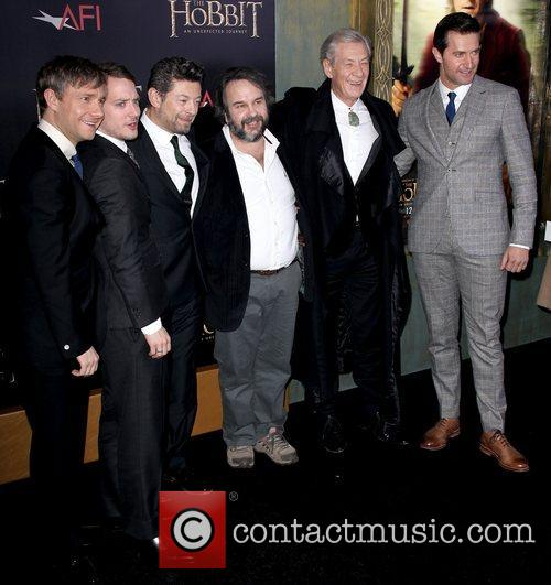 Martin Freeman, Elijah Wood, Andy Serkis, Peter Jackson, Sir Ian Mckellen, Richard Armitage and Ziegfeld Theater 2