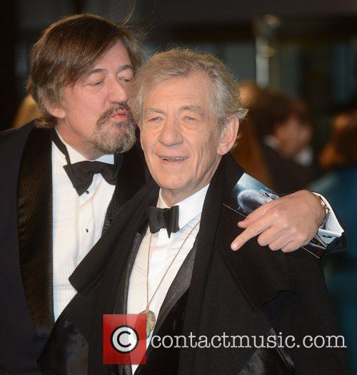 Stephen Fry, An, Ian Mckellen, The Hobbit, Odeon, Leicester Square, London and England 2
