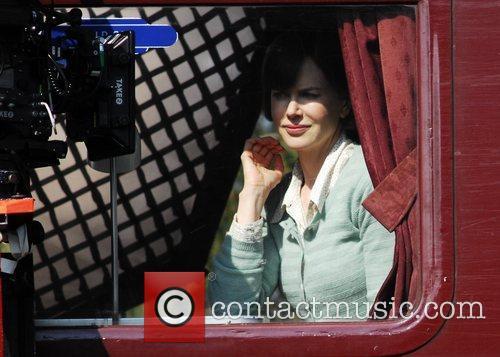 Nicole Kidman  filming a train scene from...
