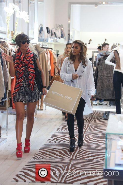 Vanessa White, Frankie Sandford  'The Saturdays' shopping...