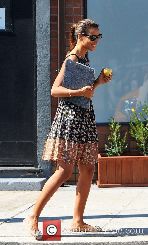 Rochelle Humes making her way to a recording...