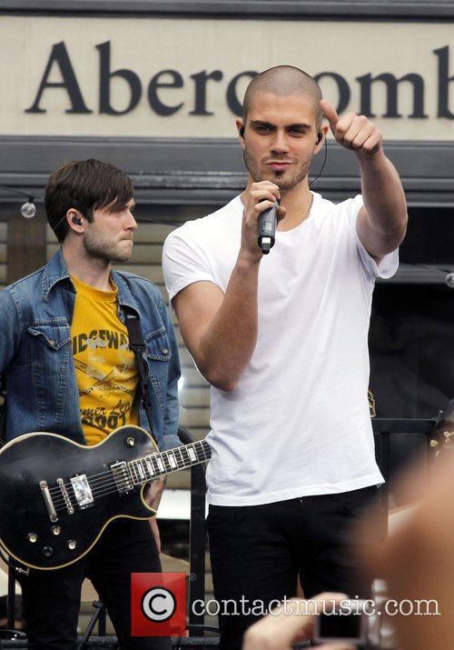 Max George of The Wanted performing on 'Extra'...