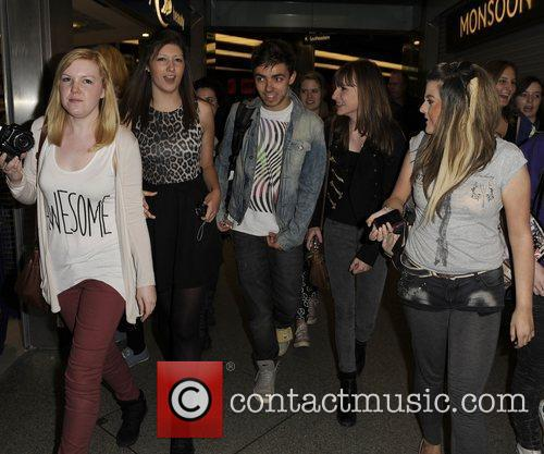 The Wanted arrive into St. Pancras Eurostar terminal...
