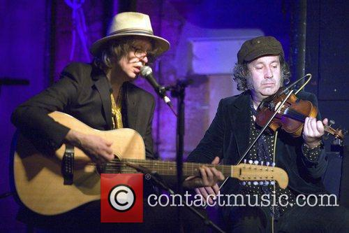 The Waterboys play an acoustic performance at the...
