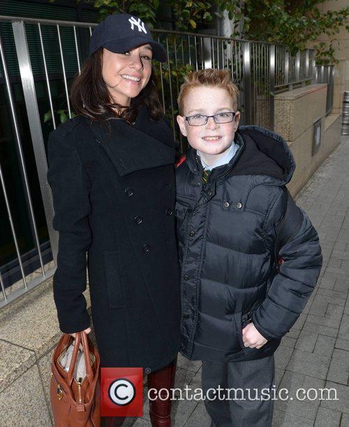 Danielle Harris with fan, Daniel Burke outside the...