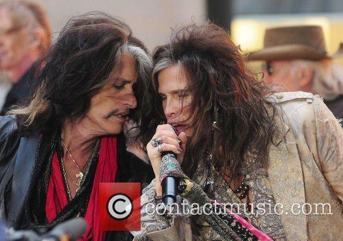 Joe Perry and Steven Tyler Aerosmith performing live...