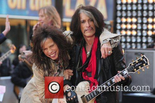 Steven Tyler and Joe Perry  Aerosmith performing...