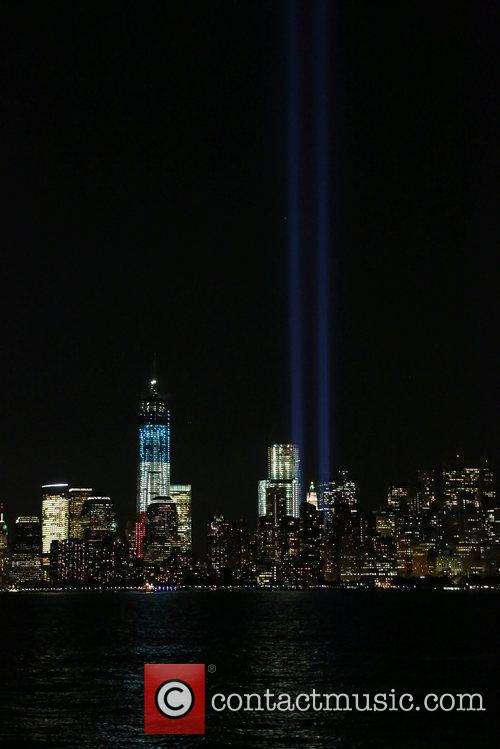 The 2012 Tribute in Lights 9/11 Memorial shown...