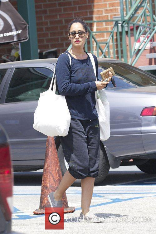 Tracee Ellis Ross leaving Whole Foods carrying her...