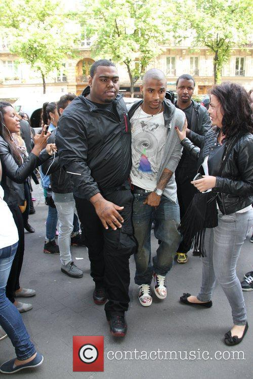 R&B singer Trey Songz exits his London hotel...