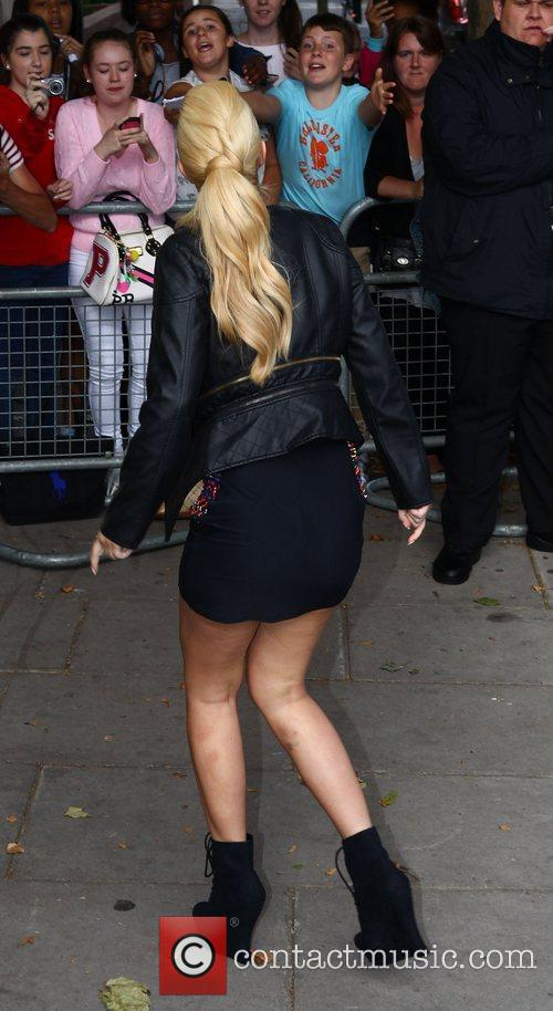 Tulisa Contostavlos arriving at the BBC Maida Vale...