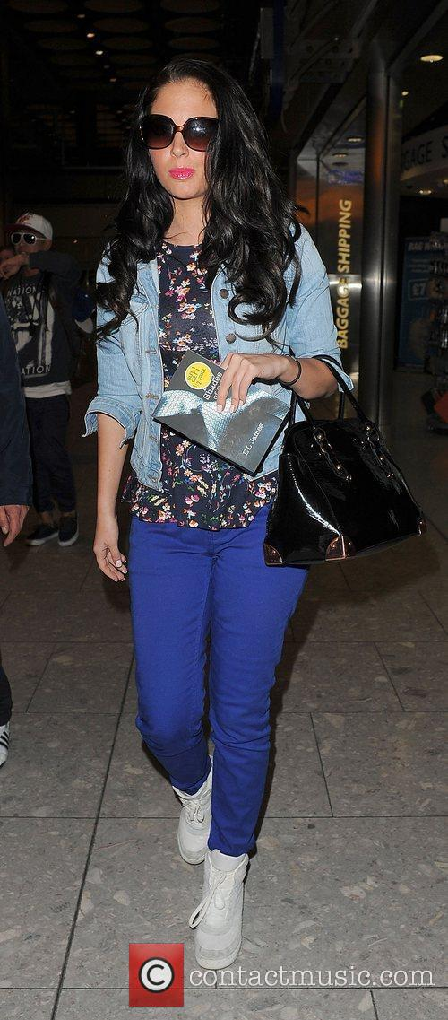 tulisa contostavlos arriving at heathrow airport on 3894505