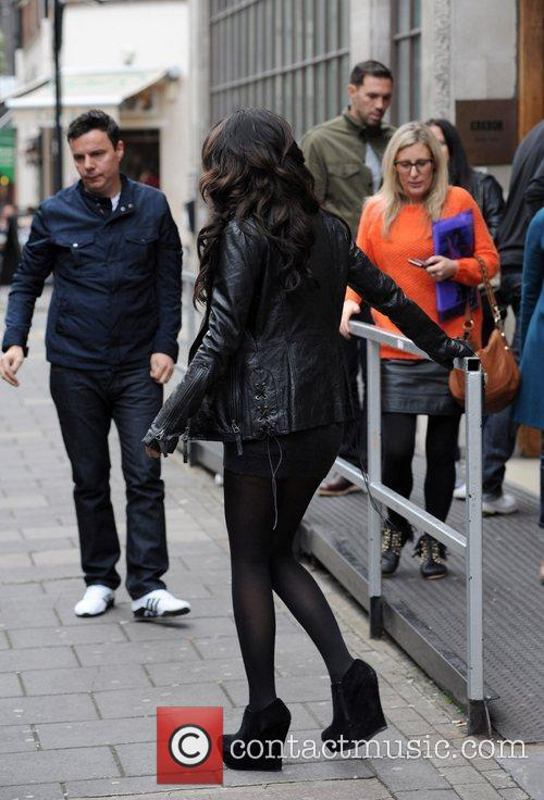 Tulisa Contostavlos leaving Radio 1 London, England