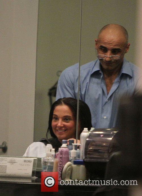 Tulisa Contostavlos at Nick Chavez hair salon.