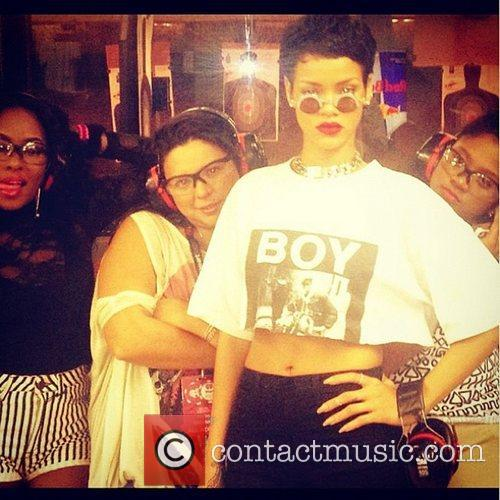Rihanna posted this image of herself with friends...