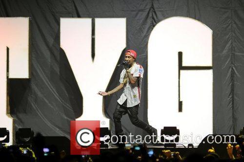 TYGA Supporting Nicki Minaj performing on stage the...