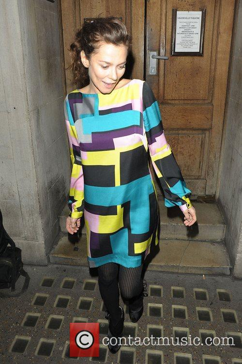 Anna Friel leaving the Vaudeville Theatre after performing...