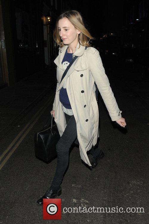 Laura Carmichael leaving the Vaudeville Theatre after performing...