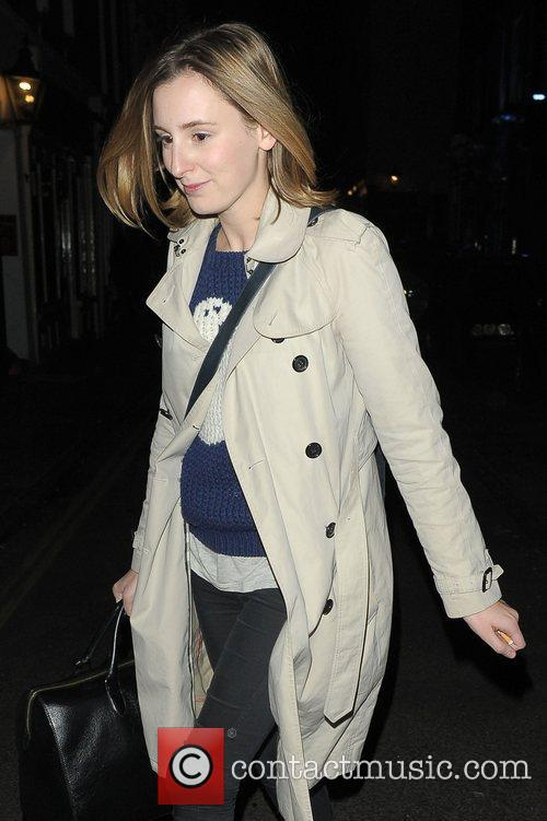 Laura Carmichael leaving the Vaudeville Theatre after performing...