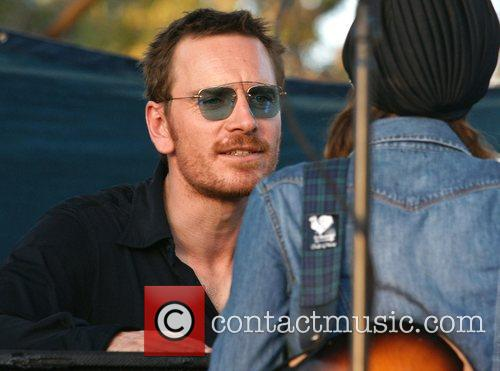 Michael Fassbender and Rooney Mara on the set...