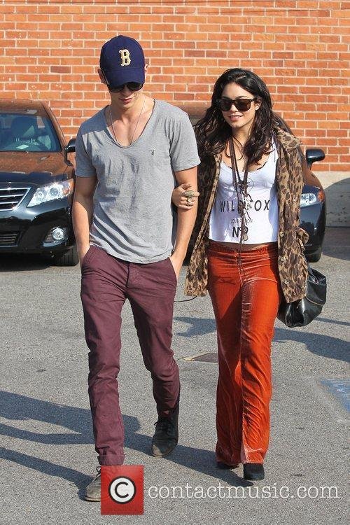 Vanessa Hudgens and Austin Butler are seen leaving...