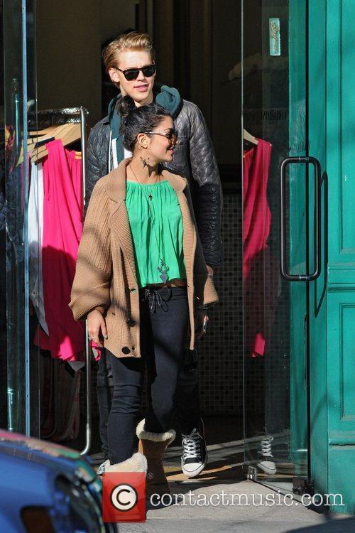 Vanessa Hudgens and boyfriend Austin Butler leaving a...