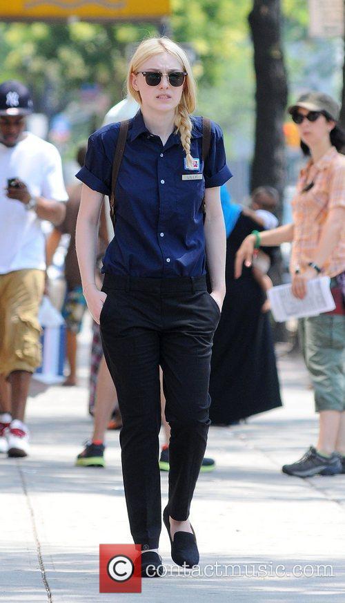 Dakota Fanning  on the movie set of...