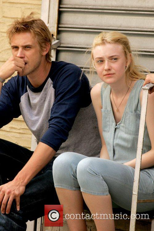Boyd Holbrook and Dakota Fanning on the set...