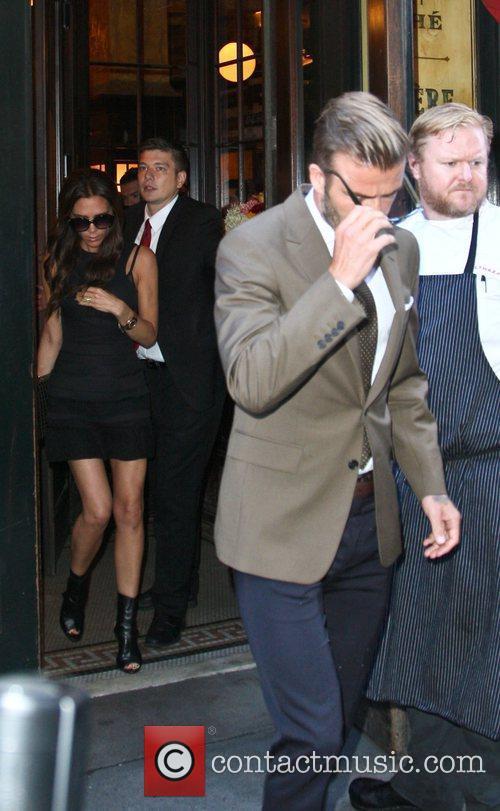 Leaving the Balthazar restaurant in Soho, Manhattan